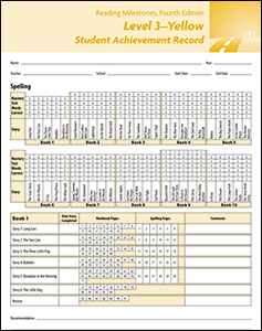 Reading Milestones-Fourth Edition, Level 3 (Yellow) Student Achievement Record (10 Pack)