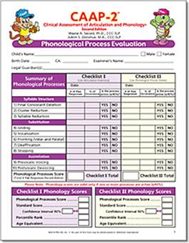 CAAP-2: Phonological Process Evaluation Forms (30)